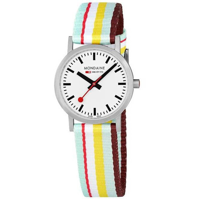 Mondaine Classic 30mm Red Yellow Stripe
