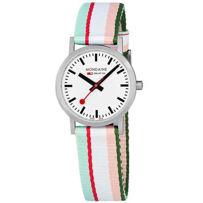 Mondaine Classic 30mm Pink Green Stripe