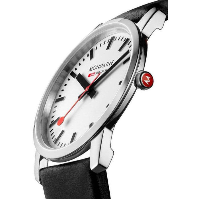 Mondaine Ultra Thin 41mm Simply Elegant White angled shot picture