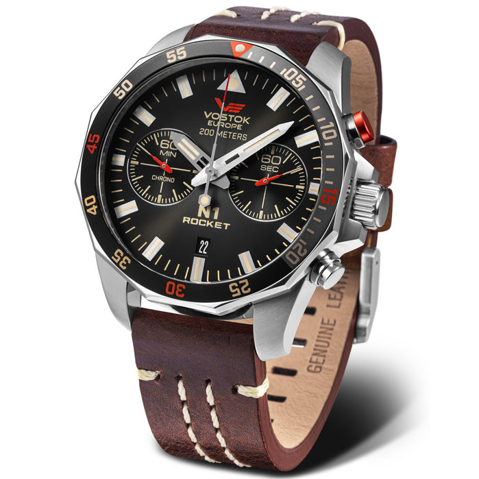 Vostok-Europe N1-Rocket Chrono Black Brown Limited Edition angled shot picture