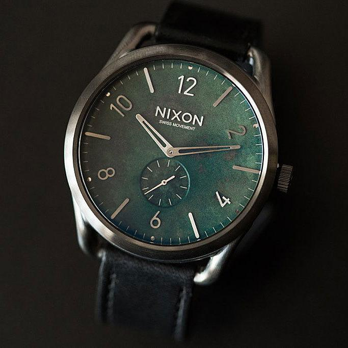 Nixon C45 Leather Gun Green Oxyde angled shot picture