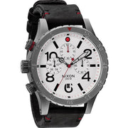 Nixon 48-20 Chrono Leather Gunmetal/White