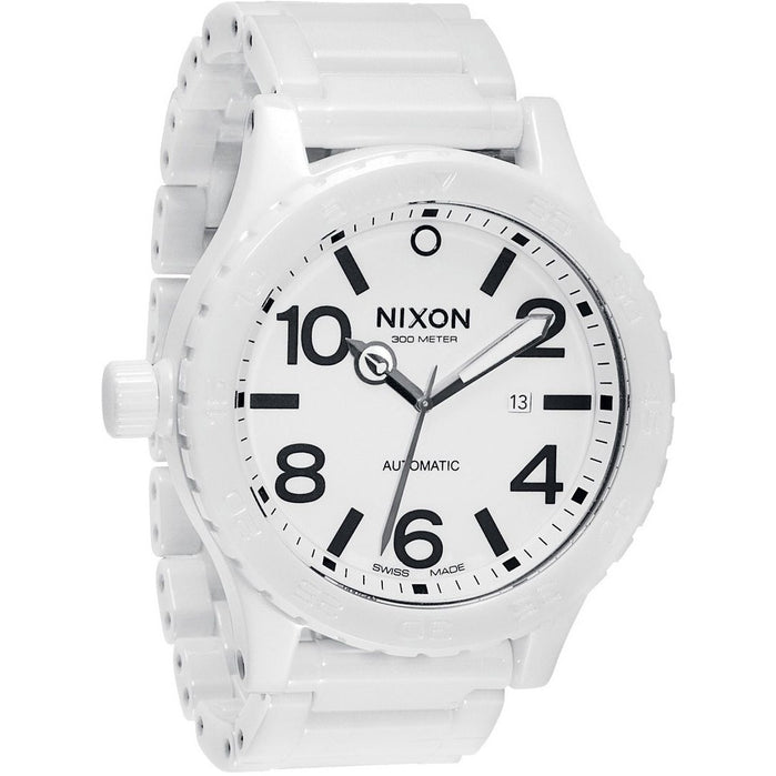 Nixon 51-30 White Ceramic Elite Swiss Automatic angled shot picture