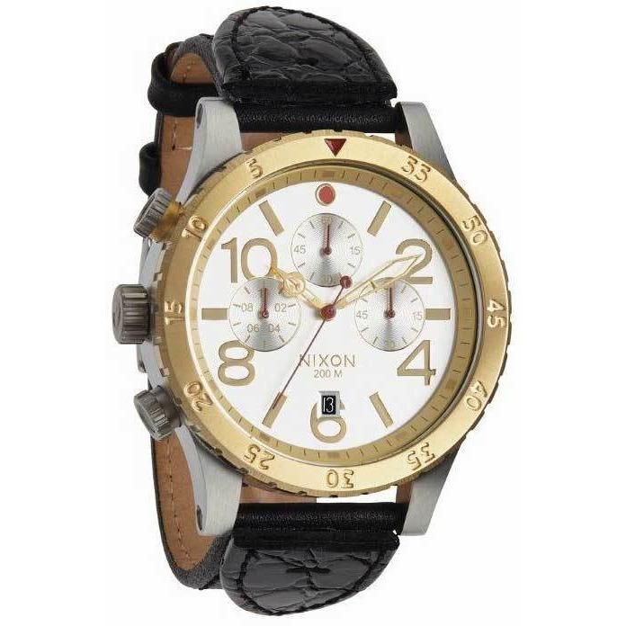 Nixon 48-20 Chrono Leather Silver/Gold
