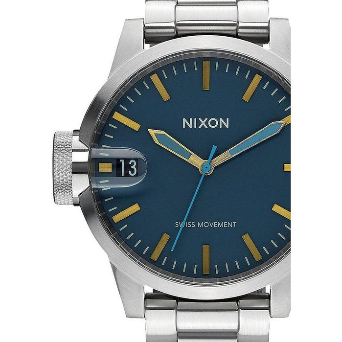 Nixon Chronicle 44 Navy/Brass angled shot picture