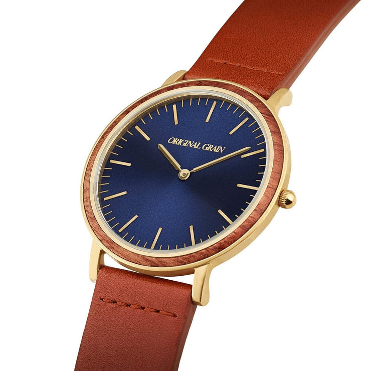 Original Grain Minimalist Mahogany Wood 40mm Blue Cognac