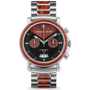 Original Grain Rosewood Chrono 44mm Red Silver Black