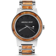 Original Grain Barrel Burlwood 47mm Silver Black Brown