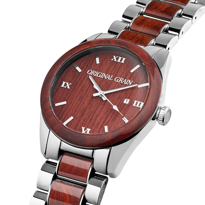 Original Grain Classic Rosewood 43mm Silver Brown angled shot picture