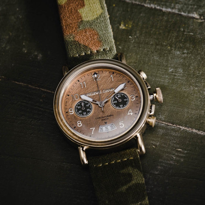 Original Grain Military General Chrono 44mm Gold Brown angled shot picture