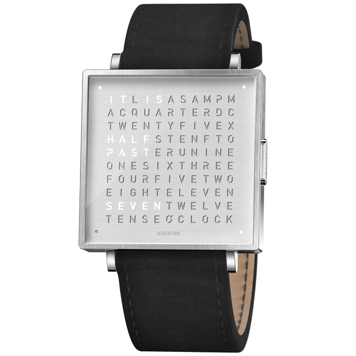 Qlocktwo W 39mm Fine Steel Black Leather angled shot picture