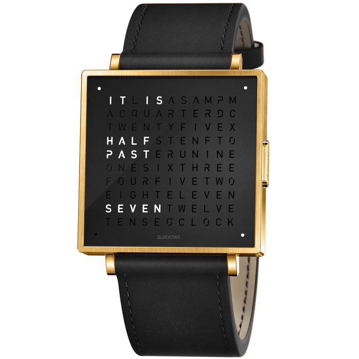 Qlocktwo W 39mm Gold Black angled shot picture