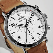 Shinola Canfield Sport Chrono 45mm White Tan
