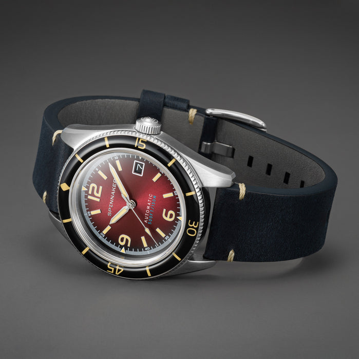 Spinnaker Fleuss Automatic Oxblood Red angled shot picture
