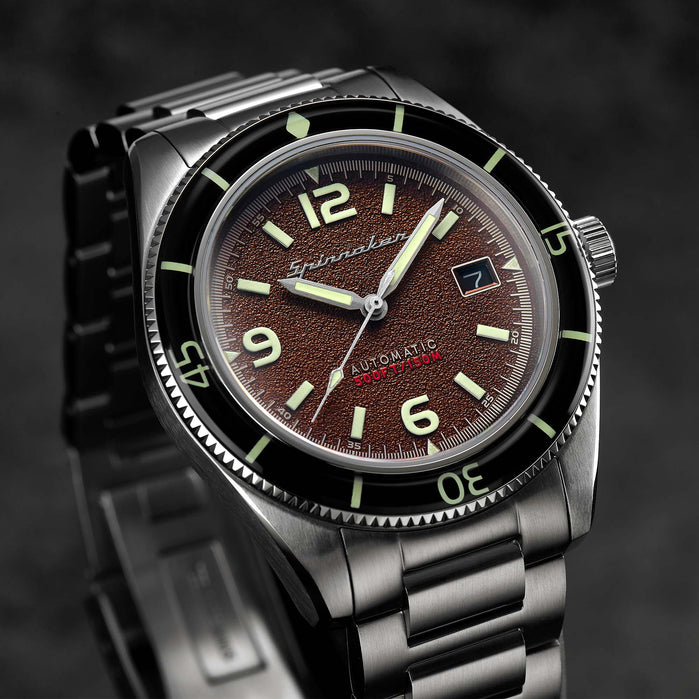 Spinnaker Fleuss Automatic Monsoon Brown angled shot picture