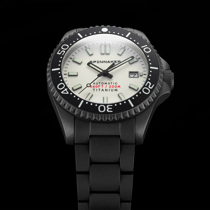 Spinnaker Tesei Automatic Titanium Everlight White angled shot picture