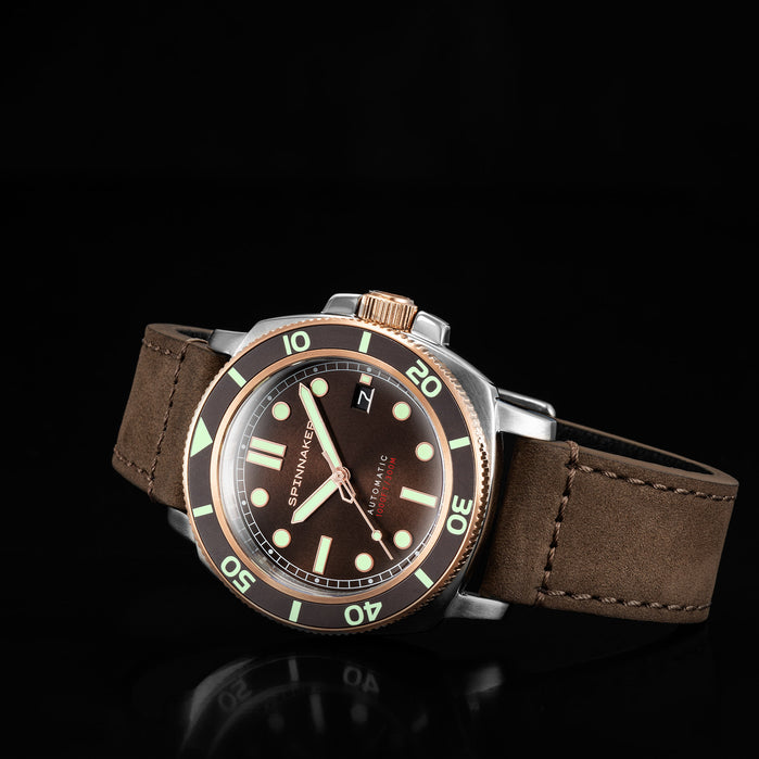 Spinnaker Hull Automatic Cognac Brown angled shot picture