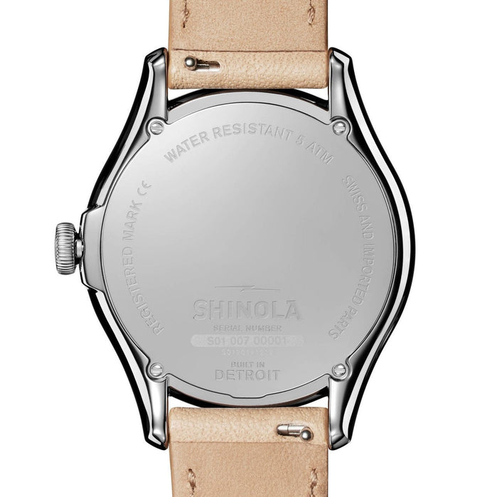 Shinola Vinton 38mm White Tan angled shot picture