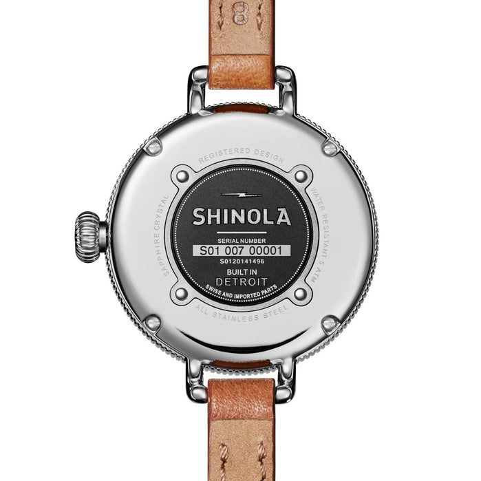 Shinola 34mm Birdy Double Wrap White Brown angled shot picture