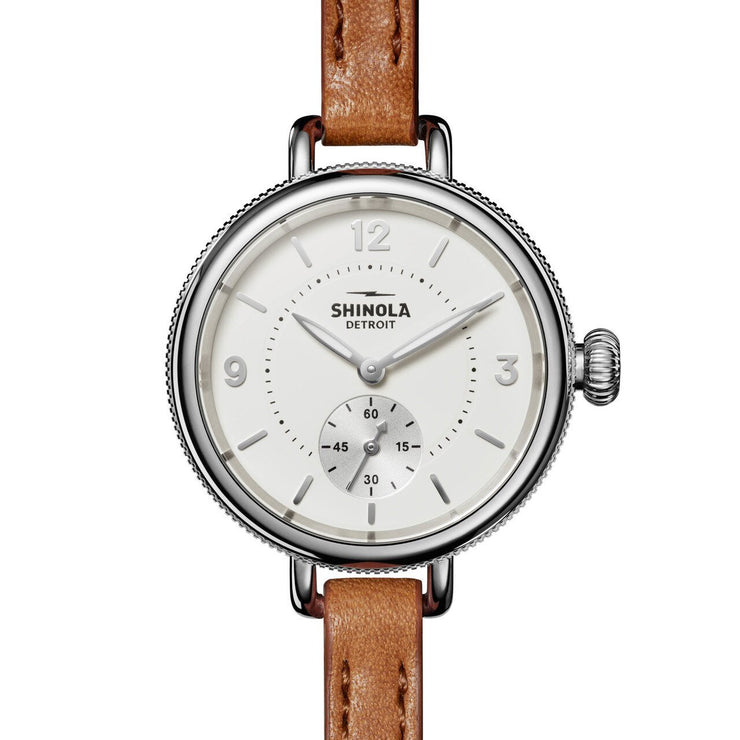 Shinola 34mm Birdy Double Wrap White Brown