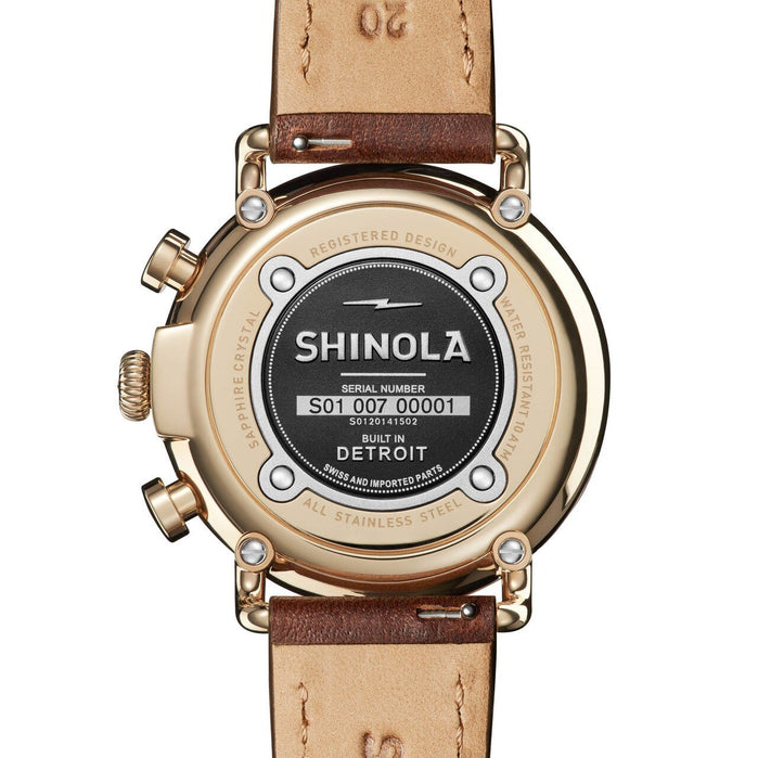 Shinola Runwell 41mm Chrono Ivory Brown angled shot picture