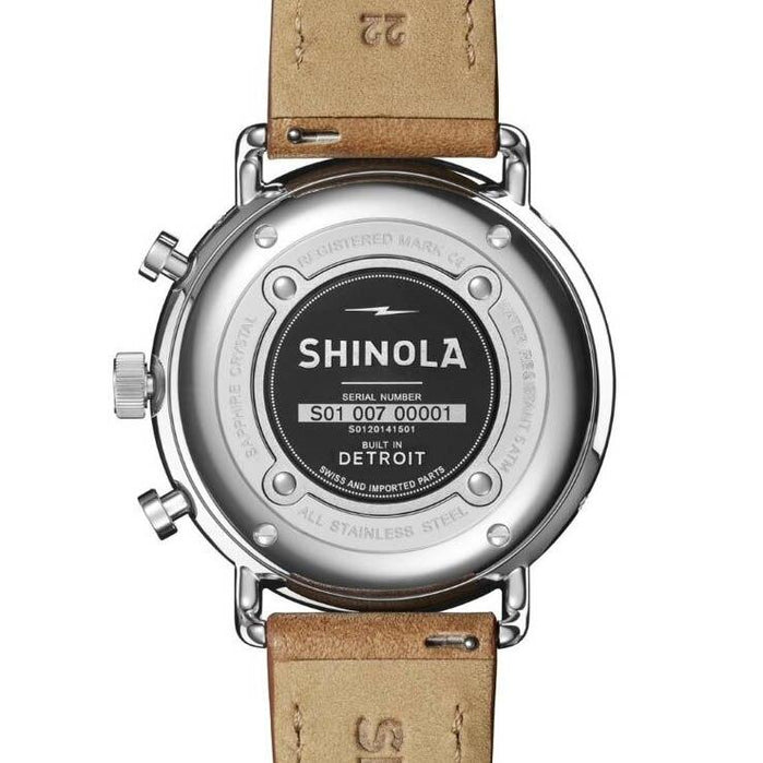 Shinola Canfield Sport Chrono 45mm White Tan angled shot picture