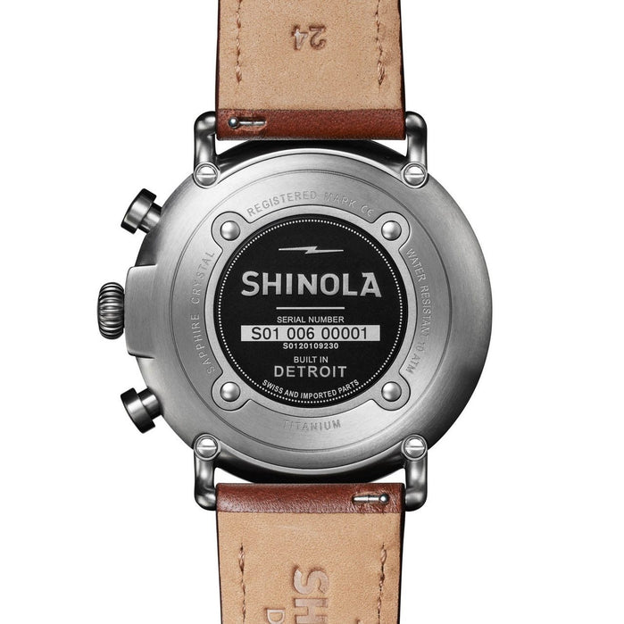 Shinola Runwell Titanium Chrono 47mm Brown Gunmetal angled shot picture