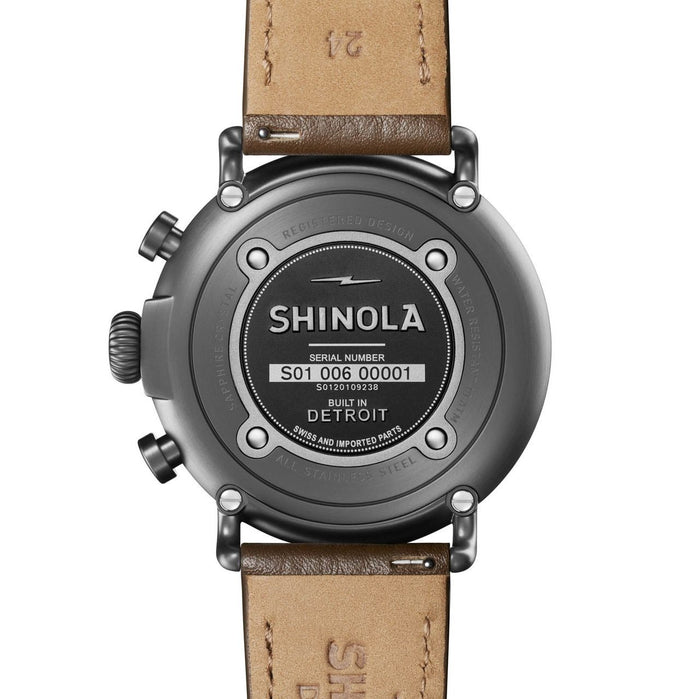 Shinola Runwell Chrono 47mm Brown Silver angled shot picture