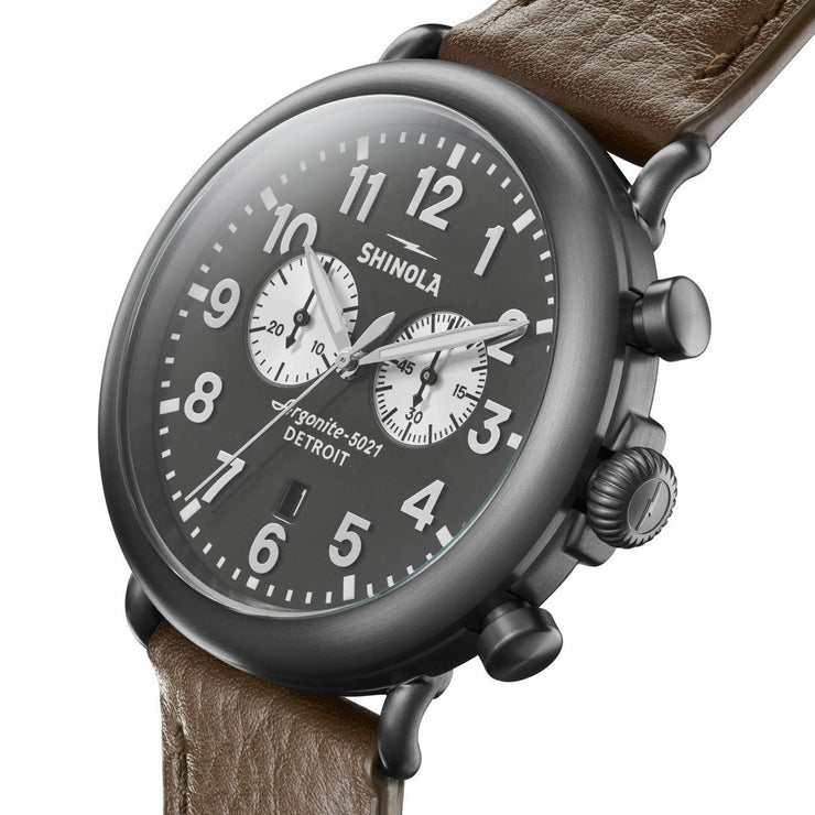 Shinola Runwell Chrono 47mm Brown Silver