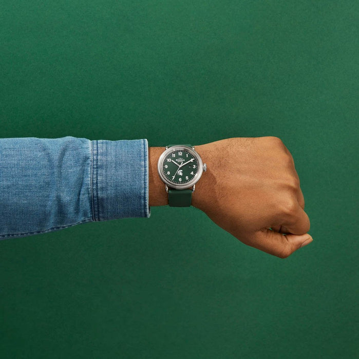 Shinola Detrola 43mm The Spartan Green White angled shot picture