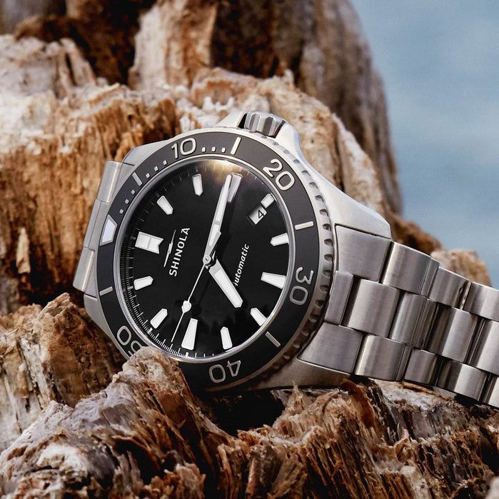Shinola Lake Superior Monster Automatic 43mm Silver angled shot picture