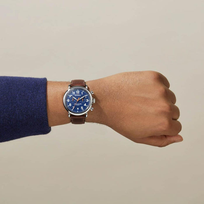 Shinola Runwell Chronograph 41mm Brown Blue angled shot picture