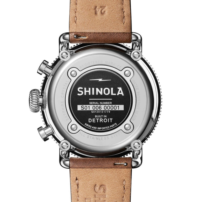 Shinola Runwell Sport Chrono 48mm Silver Tan angled shot picture