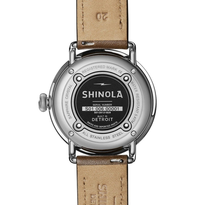Shinola Canfield 43mm Silver Tan angled shot picture