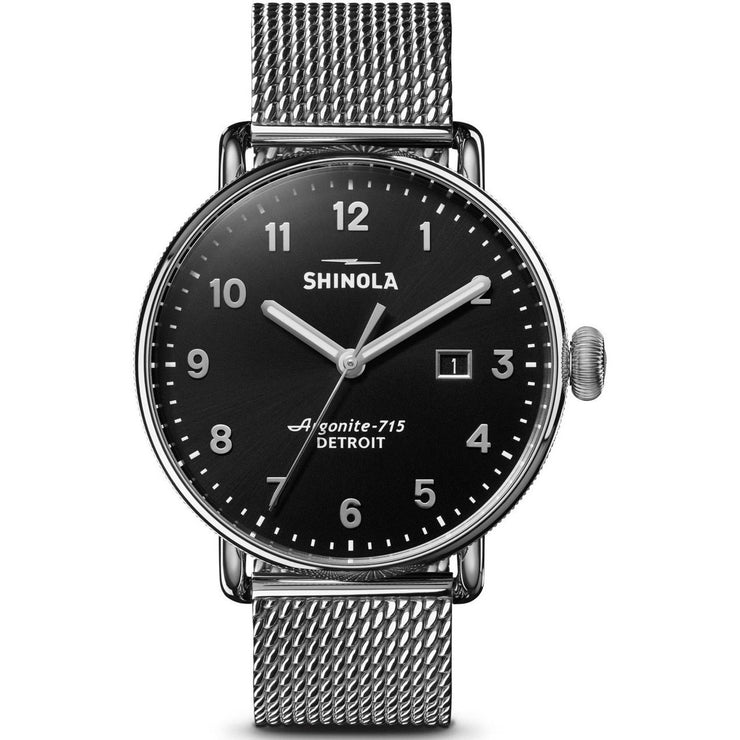 Shinola Canfield 43mm Silver Black Mesh