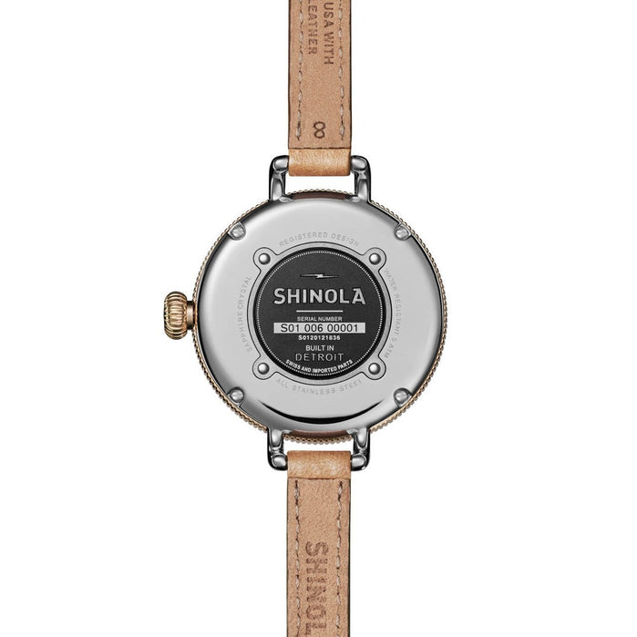 Shinola Birdy 34mm Silver Tan angled shot picture