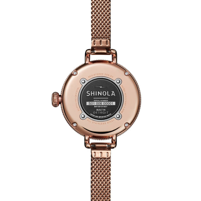 Shinola Birdy 34mm Rose Gold Mother of Pearl Mesh angled shot picture