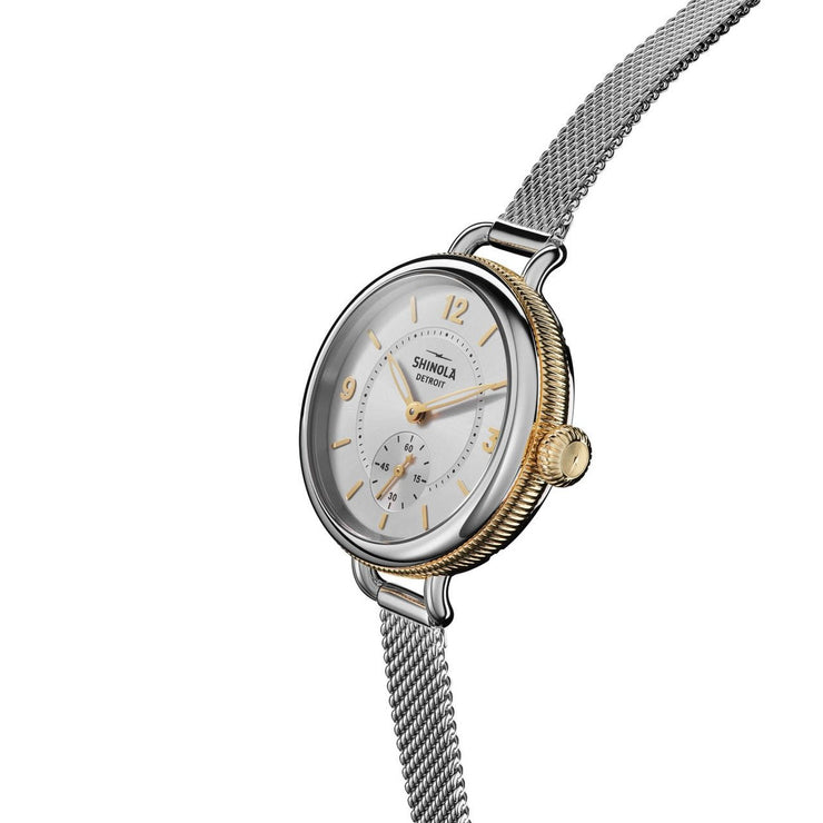 Shinola Birdy 34mm Silver Gold Mesh
