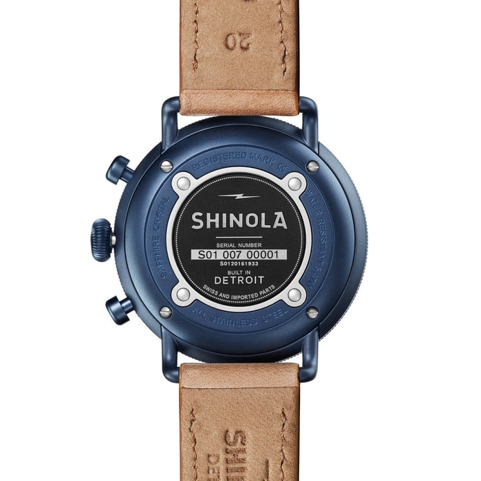 Shinola Canfield 43mm Chronograph Blue Tan angled shot picture