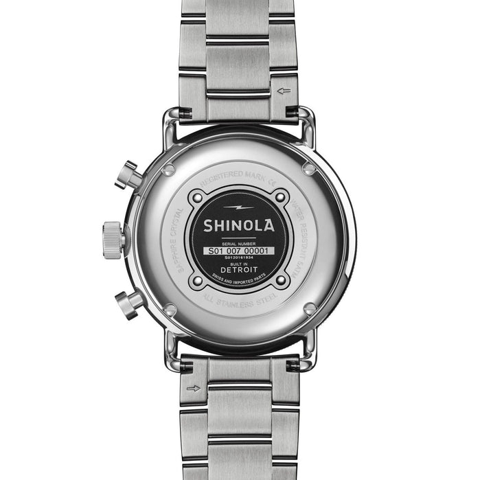 Shinola Canfield Sport 40mm Chronograph Black Silver SS angled shot picture
