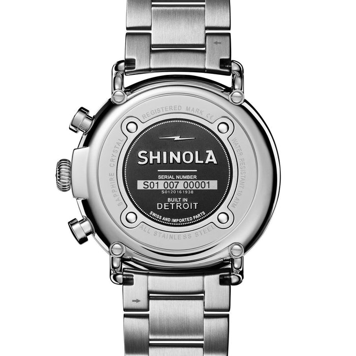 Shinola Runwell 47mm Chronograph Gray Silver SS angled shot picture
