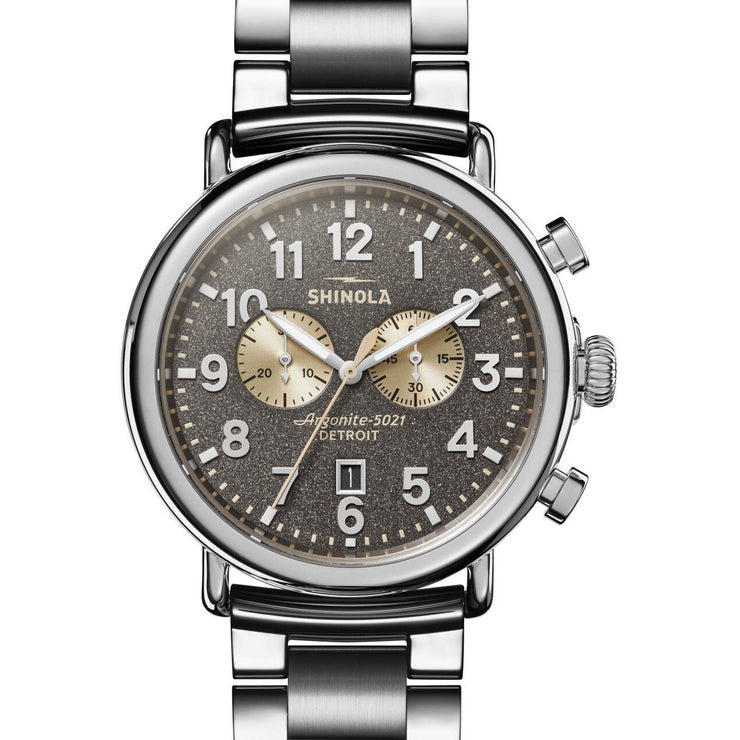 Shinola Runwell 47mm Chronograph Gray Silver SS