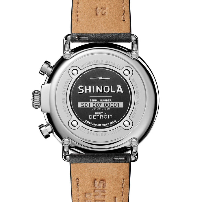 Shinola Runwell 47mm Chronograph Cream Black angled shot picture