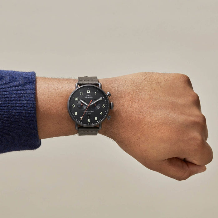 Shinola Canfield Chrono 43mm Gunmetal Black angled shot picture