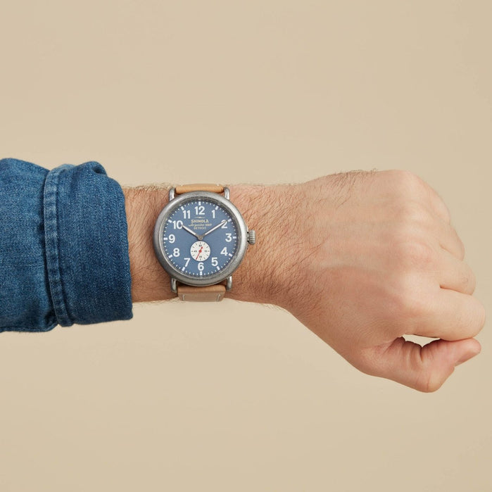 Shinola Runwell 47mm Blue Tan angled shot picture