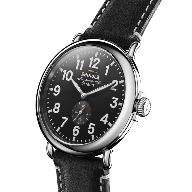 Shinola Runwell 47mm, Black Dial Black Leather Strap