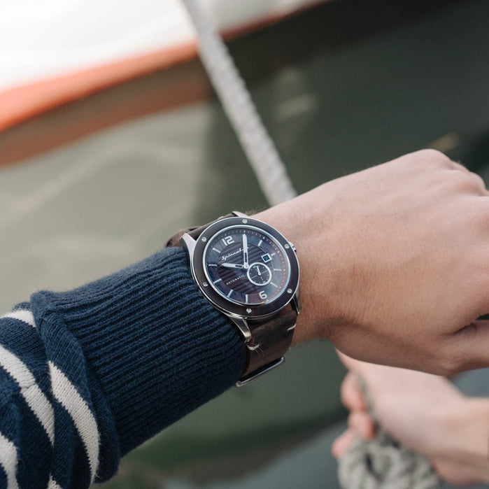 Spinnaker Sorrento Automatic Silver Black angled shot picture
