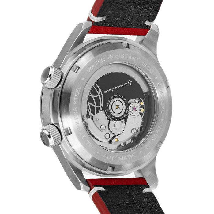 Spinnaker Bradner Automatic Silver Red angled shot picture