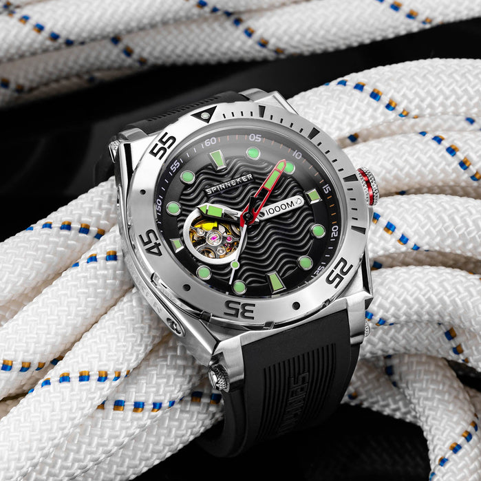 Spinnaker Overboard 1000M Automatic Black Red Silver angled shot picture