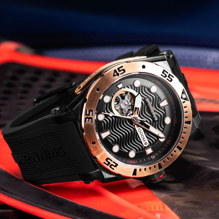 Spinnaker Overboard 1000M Automatic Black Rose Gold angled shot picture